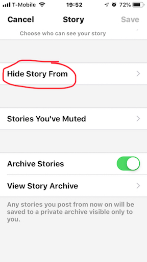 Messenger Hide Story From setting
