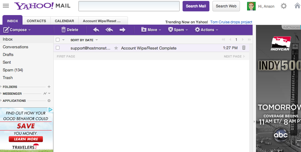 1 email in Yahoo! mail