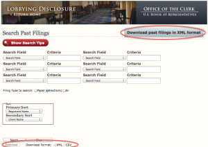House.gov Lobbyist Disclosure Filing Search